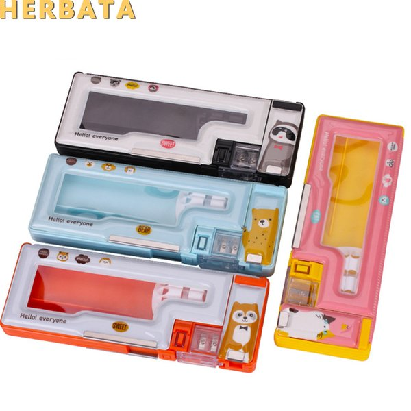 Student Stationery plastic pencil case with sharpener flip transparent magnetic pencil case quality stationery estuches CL-19179