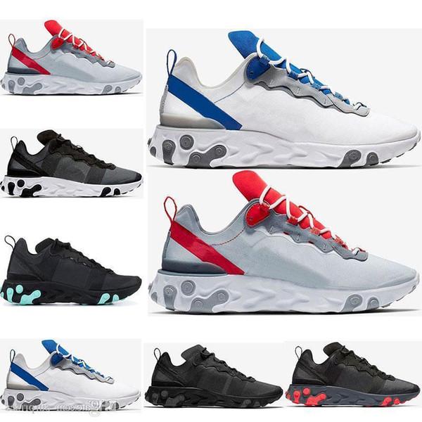 Erkekler Için 2019 Eleman React 55 Koşu Ayakkabıları Womens Yeşim Güneş Kırmızı Üçlü Siyah Beyaz Kraliyet Kırmızı Spor Sneakers Ayakkabı Boyutu 36-45