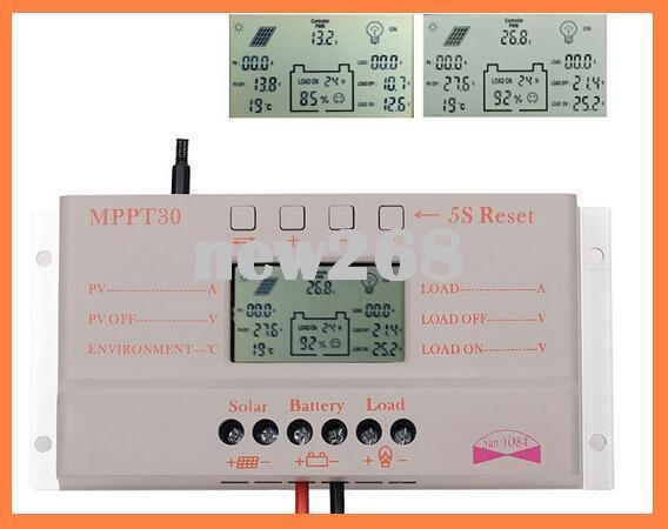 Freeshipping Solar Panel Regulator ,30A MPPT LCD Solar Charge Controller 12V/24V 380W/760W Solar Panel Regulator Auto Work