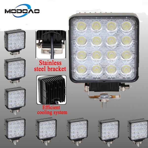 ca45c84309d4 48W Vehicel Headlights 16LEDs 6000K Cool White Light Bar 4*4 Vehicle Work  Light LED Truck Pod Light For SUV,UTV,ATV Best Cordless Led Work Light Best  ...