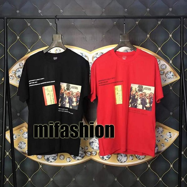2019 Europe Luxury London Hip Hop Montage Painting Tee High Quality Skateboard Cool T-shirt Men Women Clothes Cotton Casual T Shirt