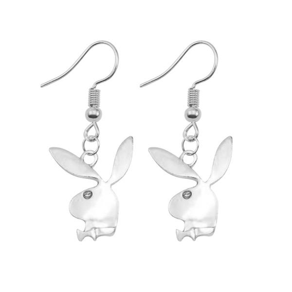 Dolce e carino 2 Pezzi / Set di signore orecchini lunghi di fascino di modo d'argento coniglio Stud ragazze non Punch gioielli regalo 2019