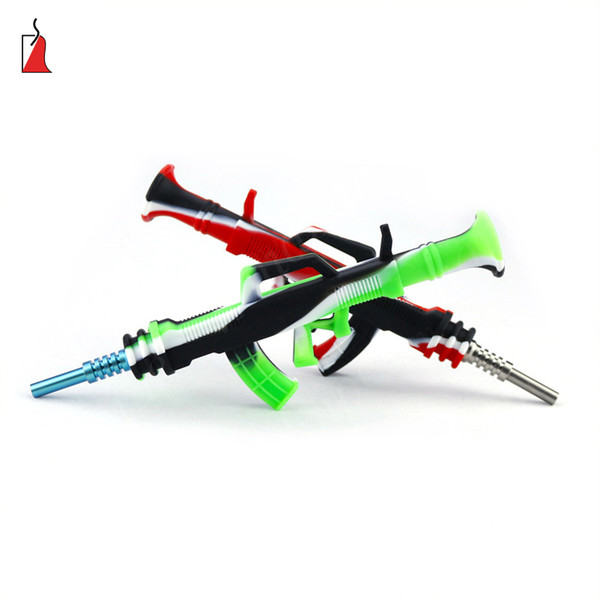 Ak47 gun shape silicone Nectar nector Collector kit Concentrate smoke Pipe with GR2 Titanium Tip Dab Straw Oil Rigs