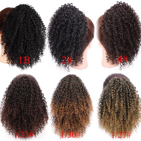 8 pouces cordon cordon feuilletée Afro Kinky bouclés queue de cheval afro-américain Clip synthétique Wrap court en extensions de cheveux queue de cheval cheveux AISI