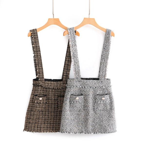 New spring fashion women's cute suspender tweed woolen short a-line skirt plus size S M L