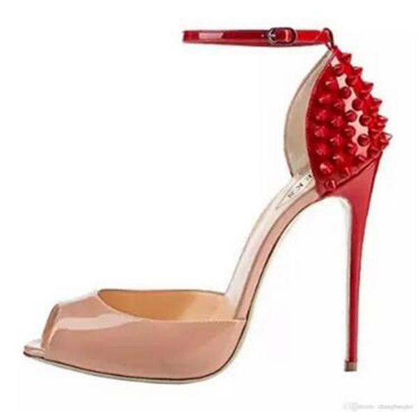 {Original box}10cm Heel New Brand Fashion Brand Red Bottom High Heels Dress Shoes Sexy Rivets Spiked Open Toe Stiletto Sandals Size 34-41