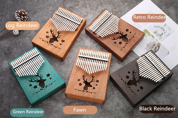 best selling C002 17 Keys Kalimba Wood Mahogany Body Thumb Piano Musical Instrument accessories colorful deer can be choosed