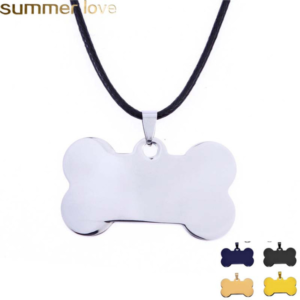 Fashion Custom Engrave Nome Glossy Bone Dog Tag Collane per le donne Black Gold Argento Acciaio inossidabile Pet Cat Dog Tag Collana gioielli