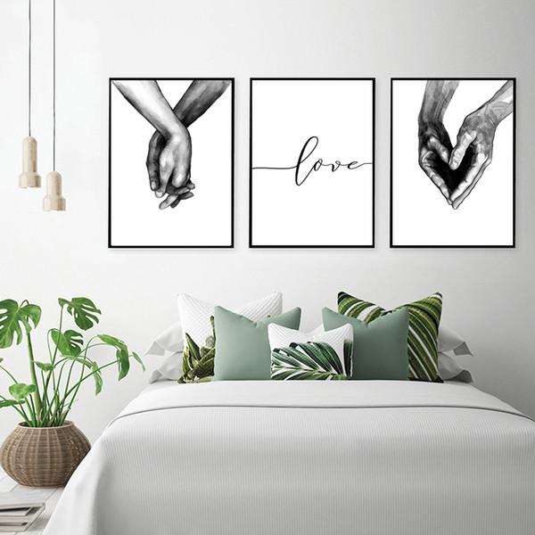 Doce Coração Mãos Arte Da Parede Da Lona Pintura Preto Branco Nordic Cartazes e Cópias Abstrata Minimalista Retratos Da Parede para Sala de estar Em Casa Quente