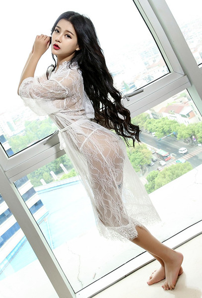 sexy lingerie Sexy and elegant coat dress ultra-thin perspective all the bud silk pajamas extreme temptation dress