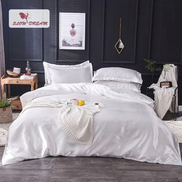 Acheter Slowdream White 100% Soie Literie Ensemble Home Textile King Size Lit Ensemble De Literie Literie Housse De Couette Flat Sheet Taie D'oreiller