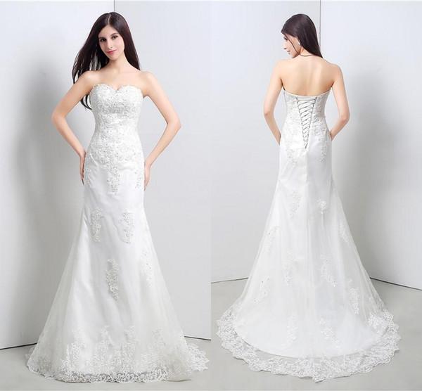 Vestido de novia de sirena de abalorios con apliques de tul Vestido de novia largo de la boda Vestidos de novia para las mujeres Vestidos de novia Vestidos