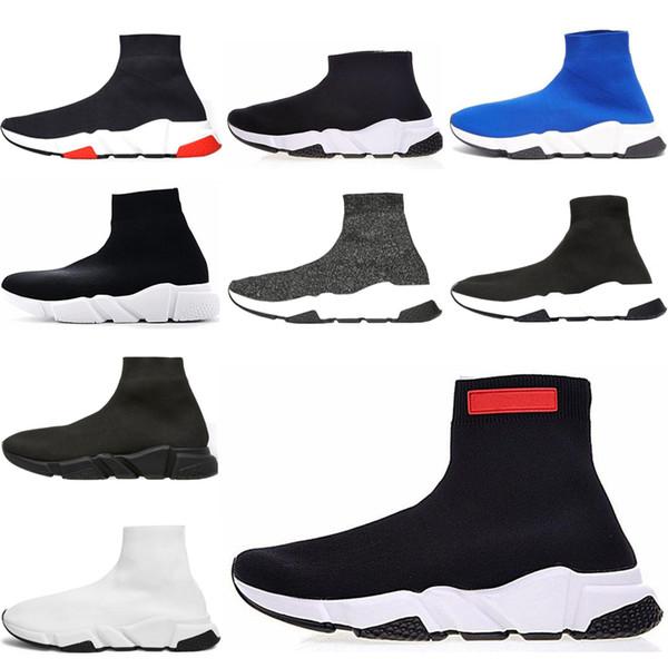 НОВАЯ дизайнерская обувь Speed Sock Sneakers Stretch Mesh High Top для мужских женщин черный белый красный блеск Runner Плоские кроссовки US5-12