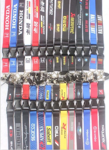 New 100Pcs Popular Auto Logo Style mobile Phone lanyard with Lobster Clasp fit Key ID Mobile Cell Phone straps Keychain#4124
