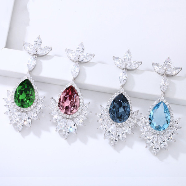 fashion vintage earringsboucle oreille femme  Temperament Inlaid Rhinestone Zircon Drop Ladies Jewelry Gift