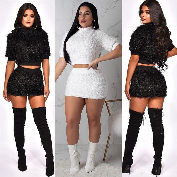 Kadın iki parçalı elbise kısa etek elbise sonbahar kış kısa kazak mini etek seksi set Casual kulübü bayan giyim xl 811