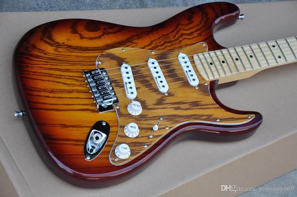 Fábrica Feita Sob Encomenda Da Guitarra Elétrica com Padrão Zebra Folheado de Madeira, Diapasón de arce, Ferragens Cromadas, oferecendo servi