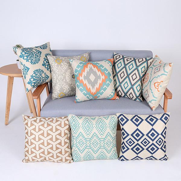 Multi Colors Geometric Printed Linen Cotton Throw Pillowcase Square Sofa Soft Pillow Cover Home Decor Seat Cushion Cover Bedding 45*45cm