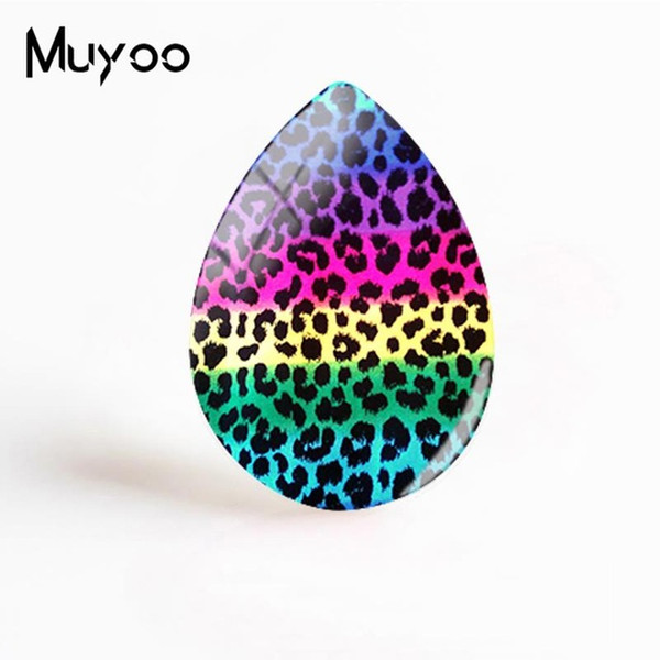 2019 New Leopard Print Painting Jewelry Animal Pattern Tear Drop Glass Dome Cabochon Art Hand Craft Cabochons Gifts Women