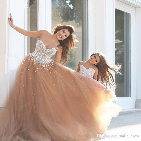 Sparkly Champagne Beaded Ball Gown Prom Dresses Sweetheart Tulle Lace Up Evening Gown Formal Party Pageant Dresses
