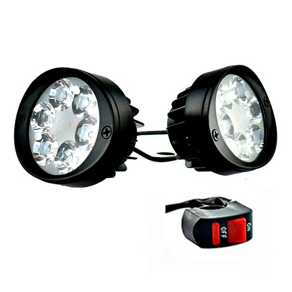 lamp with switch 2PCS Motorcycle Spotlight Headlights 12V LED Moto Side Mirror Lights Motorbike Driving Headlamps Spot Work Lamp With Switch
