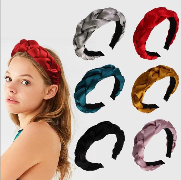 2019 Vintage Spring Summer Pearl Satin Hair Ribbon Knitted Braided Headband Hairband Hair Accessories