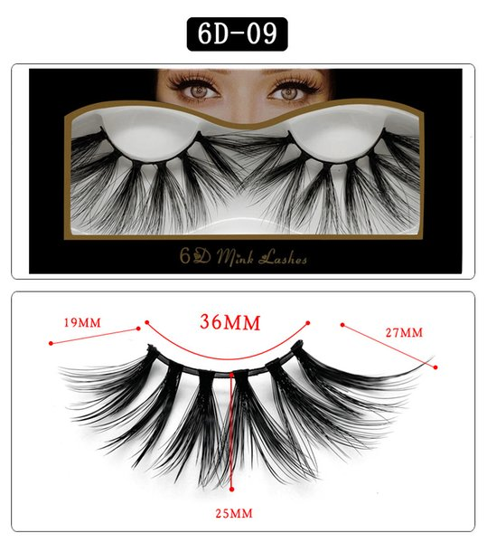 6D-09 NEW 25mm False Eyelashes 5d Mink Hair 6d Stereo Messy Thick Eyelashes Europe and The United States 10 Options 11.2×5.5×1.6cm Single