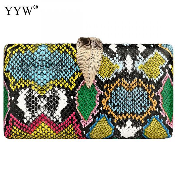 YYW embrayage femmes sac avec bandoulière épaule sac à main mode motif peau de serpent Sac A Main 2019 Femme Party Sac d'embrayage multi-couleur