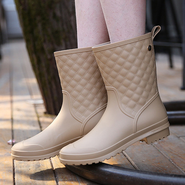 Snow boots shoes woman mid-calf spring rain shoes knot ladies shoes wedge leather boots waterproof women boots556ui