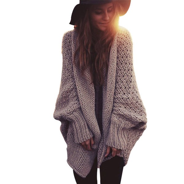 Boho Winter Cardigans For Women Oversize Batwing Sleeve Sweaters Long Cardigan Female Knitted Clothes Khaki Jackets
