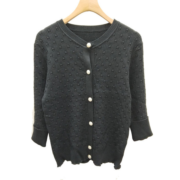 Small Wind Ice 19 Spring Summer Quality New Product Seven Branch Sleeve T-shirts Fashion Knitting Thin Money Cardigan Loose Coat Fe