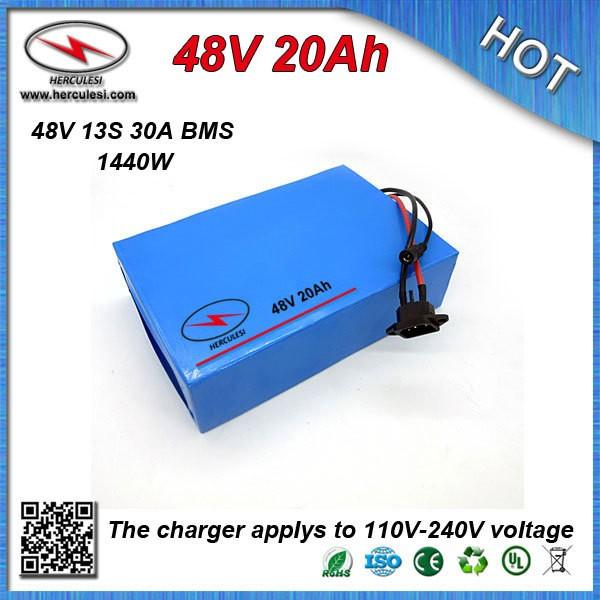 Best price high capacity 48V 20Ah Electric Scooter Battery built in 3.7V 2200 mah 18650 cell 30A BMS and 54.6V 2A Charger