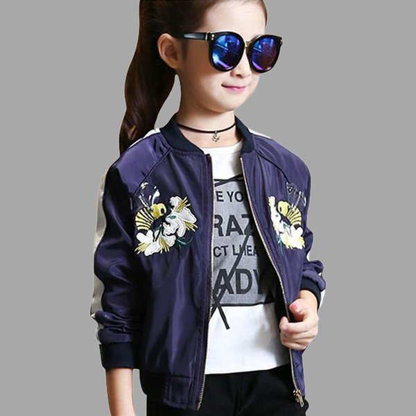 Girls Jackets Cartoon Embroidery Children Jackets Casual Outerwear Autumn Spring Kids Girls Clothes 6 8 10 12 14 Year