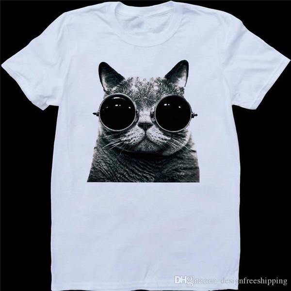 Magliette economiche Online Girocollo Uomo Cotone Manica corta Gatto con occhiali da sole Camicie
