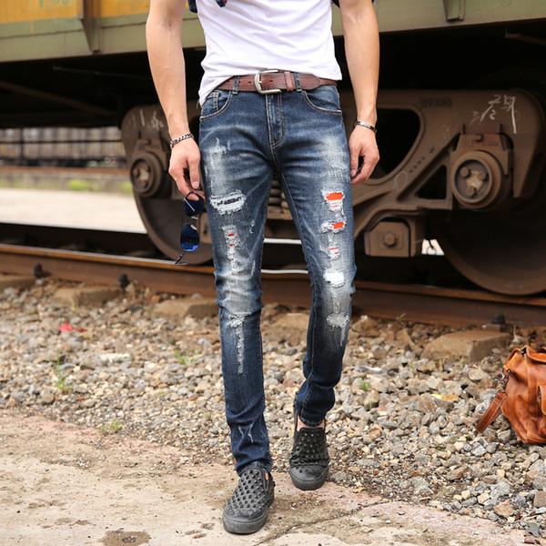 Pantalones vaqueros de los hombres del otoño agujero rasgado pantalones de mezclilla de moda para hombre pantalones de mezclilla media cremallera pantalones vaqueros largos pantalones delgados al por mayor