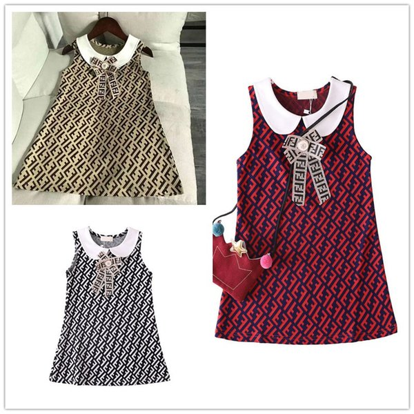 Baby Girl Summer Dresses 2019 New Lapel Sleeveless Bowknot Casual Princess Prom Dress Kids Designer Clothes For Childrens DressesB6201