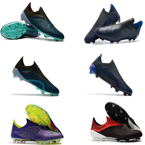 2019 mens soccer cleats X 18+ FG 39-45 soccer shoes Laceless football boots Purespeed outdoor scarpe da calcio high quality blackout