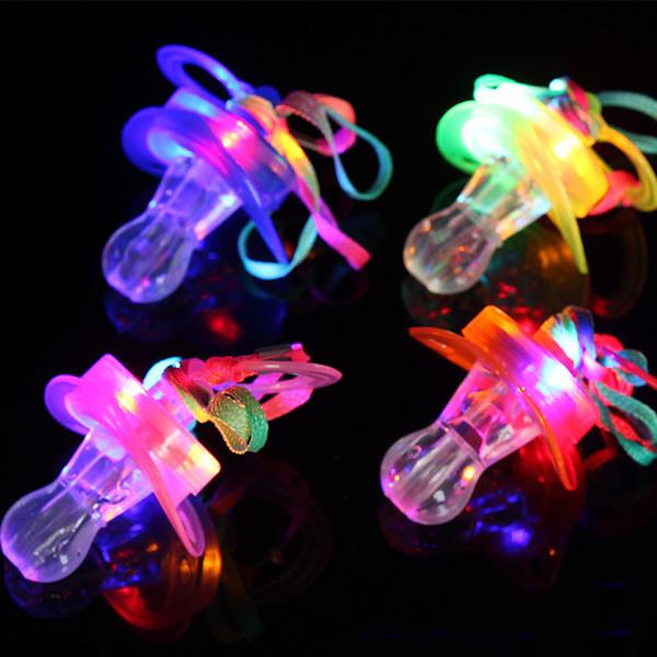 Forme de sucette légère LED sifflet jouet Rave Party rougeoyant clignotant longe mamelon jouets enfants led jouet parti cadeau accessoires de pub C5643