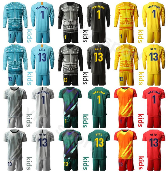 top popular Kids Long Sleeve Goalkeeper GK 1 Marc Andre TER STEGEN Youth Jersey Set 2020 Goalie 13 NETO Children Football Shirt Kits Uniform BSLN 2020