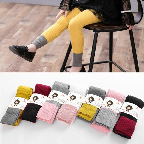 Baby Girl Splice Color Leggings Kids Skinny Pants Children Cotton Stockings Pantyhose Autumn Spring Warm Joint Pencil Trousers