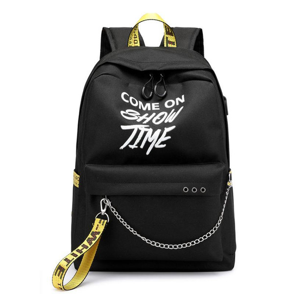 top popular USB Hip Hop Ladies Backpack Off Fashion White Women Bags High Quality Large Capacity Student Bag Casual Travel Backpacks 2021
