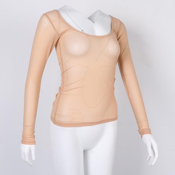 Mujeres cuello redondo de manga larga del ajustado Camisas Tops danza Práctica únicos