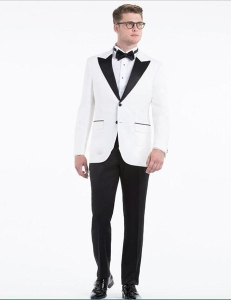 White Groom Tuxedos Black Peak Lapel Men Wedding Tuxedos Popular Jacket Blazer Men Dinner/Darty Suit Custom Made(Jacket+Pants+Tie) 1263