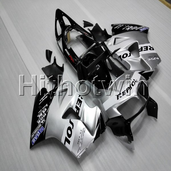 23colors + Botls repsol carenado de motocicleta plateado para HONDA VFR800 1998 1999 2000 2001 casco de carenado de motocicleta ABS