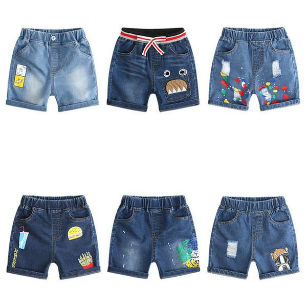 Les garçons au détail shorts enfants garçons filles denim de bande dessinée décontractée jeans courtes concepteur sports football conseil de football pantalons courts enfants boutique tissu