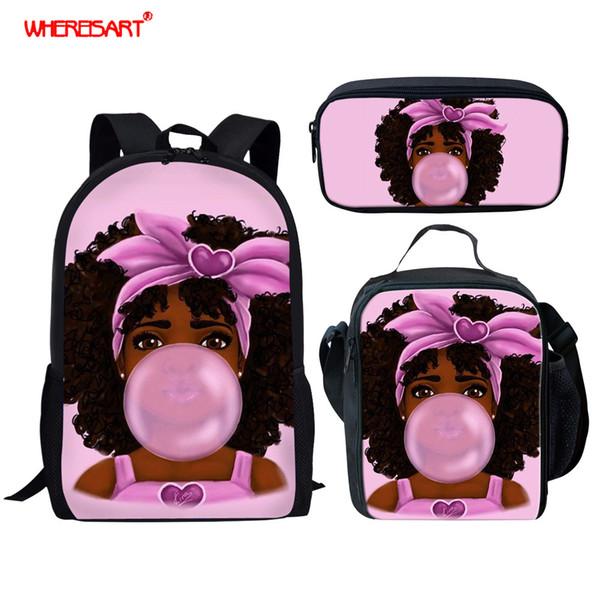 WHEREISART Add Child Name On School Bags 3pcs/ Set Kids Backpack Afro Girls Cartoon Figure Drawing Children Primary Book Bag