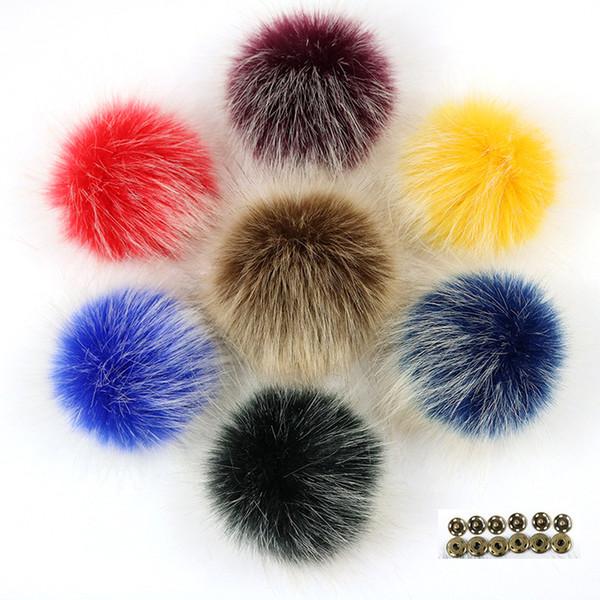 Acheter Diy 10cm Colore Faux Fourrure De Renard Pom Poms Gel Blanc Pointe De Cheveux Pompon Avec Boucle Chapeaux Tricotes Accessoires Pompon De