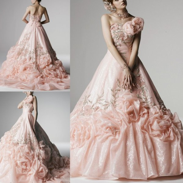Amazing Pink Ball Gown Wedding Dresses Ruched One Shoulder Appliques Bridal Gowns Ruffles Sweep Train Lace Up Wedding Dresses