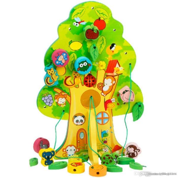 ХТ hxldoor Wholesale-2016 Новые прибытия Дети Favor Образовательные Деревянные игрушки для животных фруктовых деревьев Дом нанизывать бусины младенца Подарок на день рождения