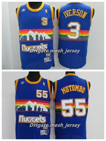 purchase cheap 4d472 41ca3 2019 Retro Men Denver Basketball Nuggets Jersey 55 Dikembe Mutombo 3  Iverson Stitching Jerseys Rainbow S XXL From Jerseyhome1, $21.32 |  DHgate.Com
